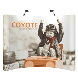 Deluxe Coyote Curved Frame Full Graphic Mural Pop Up Trade Show 8ft (3x3) Floor Fast Exhibit Kits combines strength and reliability with style and ease of use. Named popup because of its small to large pop-up action, this type of display system
