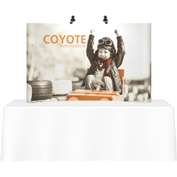 Deluxe Coyote Graphic Pop Up Trade Show 7ft (3x2)  Tabletop Display Kits combines strength and reliability with style and ease of use. Named popup because of its small to large pop-up action, this type of display system is still one of the most portable