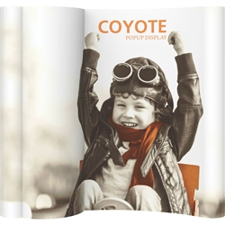 Add a new dimension to your Coyote Popup Display with a forward facing, convex bubble panel. Panel can be fabric, OPAQUE graphic or even a rear illuminated graphic.