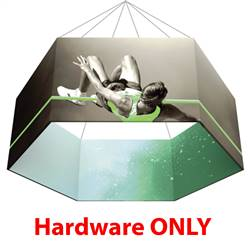 10ft x 2ft Hexagon Formulate 3D Hanging Banner Displays Hardware Only. The Hexagon hanging banner display offers a downward angled sign for your graphics and messaging from anywhere on the event and trade show floor.