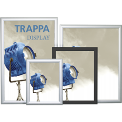 "8.5""x11"" Trappa Black Poster Frame features a sleek styling & precision mitered corners, Trappa poster framing system looks equally great in a corporate lobby or exhibit environment. The frame ""snaps"" open to change messages or graphics quickly & easily."