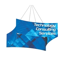 8ft x 2ft Curved (Concave) Square Formulate Hanging Banner with Double-Sided Printed Fabric. Hanging ceiling banner can be seen from great distances making this sign a great choice for tradeshow events and in store P.O.P.