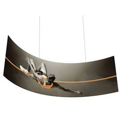 8ft x 3ft Curve Panel Shaped Hanging Banner with Single-Sided Printed Fabric. The Curve stretch fabric hanging banner can be seen from great distances making this sign a great choice for tradeshow events and in store P.O.P.