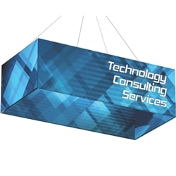 10ft x 5ft x 2ft Formulate Double-Sided Rectangle Hanging Banner Display offers a simple, 4 sided structure for your graphics and messaging from anywhere on the trade show or event floor floor. Draw in a crowd from the stunning, Rectangle Hanging Sign