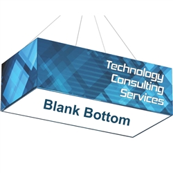10ft x 5ft x 4ft Formulate Rectangle Hanging Sign with Blank Bottom offers a simple, 4 sided structure for your graphics and messaging from anywhere on the trade show or event floor floor. Draw in a crowd from the stunning, Rectangle Hanging Banner