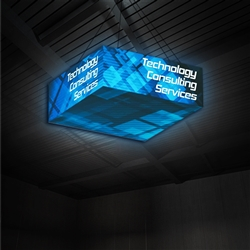 8ft x 8ft x 3ft (h) Formulate Backlit Square Hanging Banner Display -  Single-Sided offers a simple, 4 sided structure for your graphics and messaging from anywhere on the trade show or event floor floor. Draw in a crowd from the stunning