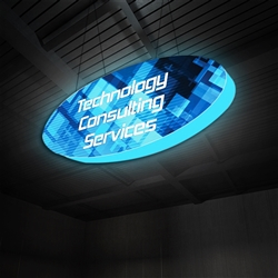 10ft x 4ft Formulate 3D Illuminated Oval Hanging Sign Backlit Display offers a simple, 2 sided structure for your graphics and messaging from anywhere on the trade show floor. Draw in a crowd from the stunning, Master 3D Hanging Oval Shaped Structure