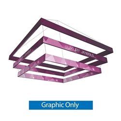 10ft x 5ft Formulate Tiered Square Designer Series Ceiling Single-Sided Hanging Signs are professional suspended ceiling hanging banner displays that give your booth a one of a kind look. The 3 tiered layers increase in size for a large volume design.