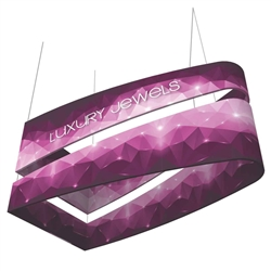 10ft x 3ft Formulate Tiered Bullet Designer Series Double-Sided Hanging Sign Displays are professional suspended ceiling hanging banner displays that give your booth a one of a kind look. The 3 tiered layers increase in size for a large volume design.