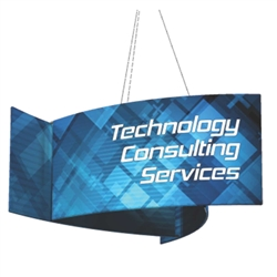 12ft x 3ft Pinwheel Formulate Hanging Double Sided Fabric Signs are made in the USA and are of the utmost quality and durability, attract and command attention to your trade show booth from many trade show isles away