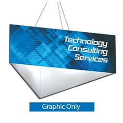 8ft x 2ft Replacement Single-Sided fabric for Formulate Triangle Hanging Banner. It offers 3 side structure for your graphics and messaging from anywhere on the trade show or event floor floor. Triangle Hanging Sign is a great hanging sign solution