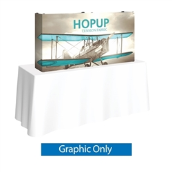 5ft HopUp Straight Tabletop Display Full Fitted Graphic Only. HopUp Display has a light weight, heavy duty frame that holds a fabric graphic mural. Durable stretch fabric graphic stays attached to the HopUp frame for fast and efficient use.