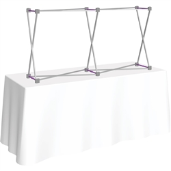 5ft Straight HopUp 2x1 Tabletop Fabric Trade Show Display Hardware only. Fabric popup displays are the FASTEST booth on the market to setup. The one piece stretch fabric graphic is seamless and stays attached to the pop up display frame when not in use.