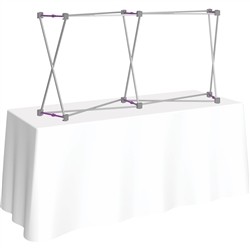5ft Curved HopUp 2x1 Tabletop Fabric Trade Show Display Hardware only. Fabric popup displays are the FASTEST booth on the market to setup. The one piece stretch fabric graphic is seamless and stays attached to the pop up display frame when not in use.