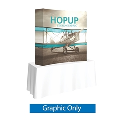 5ft x 5ft HopUp Curved Tabletop Display Full Fitted Graphic Only. HopUp Display has a light weight, heavy duty frame that holds a fabric graphic mural. Durable stretch fabric graphic stays attached to the HopUp frame for fast and efficient use.