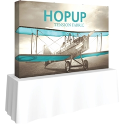8ft Straight HopUp 3x2 Tabletop Fabric Display with Full Fitted Graphic is the instant trade show table top solution! Hopup is an all new light weight yet heavy duty frame that suspends a fabric graphic image