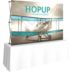8ft Straight HopUp 3x2 Tabletop Fabric Display with Front Graphic is the instant trade show table top solution! Hopup is an all new light weight yet heavy duty frame that suspends a fabric graphic image