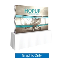 Front Graphic for 8ft HopUp Straight Tabletop Display. HopUp Display has a light weight, heavy duty frame that holds a fabric graphic mural. Durable stretch fabric graphic stays attached to the HopUp frame for fast and efficient use.