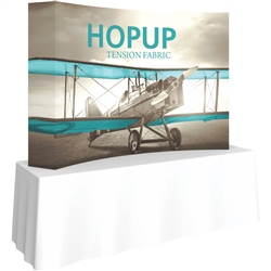 8ft Curved HopUp 3x2 Tabletop Fabric Display with Full Fitted Graphic is the instant trade show table top solution! Hopup is an all new light weight yet heavy duty frame that suspends a fabric graphic image