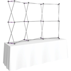 8ft Curved HopUp 3x2 Tabletop Fabric Display Hardware Only is the instant trade show table top solution! Hopup is an all new light weight yet heavy duty frame that suspends a fabric graphic image