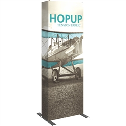 30in HopUp Straight 1x3 Tension Fabric Display with Full Fitted Graphic has a light weight, heavy duty frame that holds a fabric graphic mural. It sets up in seconds and can be packed away just as quickly. Durable stretch fabric graphic stays attached