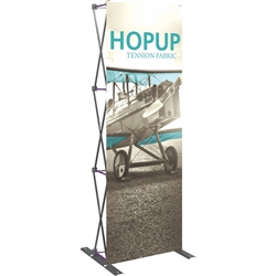 30in HopUp Straight 1x3 Tension Fabric Display with Front Graphic has a light weight, heavy duty frame that holds a fabric graphic mural. It sets up in seconds and can be packed away just as quickly. Durable stretch fabric graphic stays attached