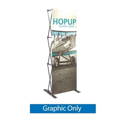 Front Graphic for 30in HopUp Straight 1x3 Tension Fabric Display. It has a light weight, heavy duty frame that holds a fabric graphic mural. It sets up in seconds and can be packed away just as quickly. Durable stretch fabric graphic stays attached