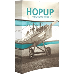 5ft Orbus Hopup Floor 2x3 Curved Fabric Trade Show Display with Full Fitted Graphic is lightweight, highly portable, and requires almost no set-up time! Fabric popup displays are the FASTEST booth on the market to setup. The one piece Pop Up Display.