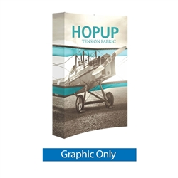 Full Fitted Graphic for 5ft Hopup Floor 2x3 Curved Fabric Display. 5ft Hop Up Back Wall Trade Show Display mixes state-of-the-art design with unmatched convenience. Printed fabric trade show displays, exhibit booths and accessories