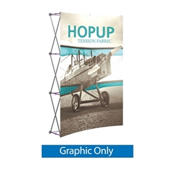 Front Graphic for 5ft Hopup Floor 2x3 Curved Fabric Display. 5ft Hop Up Back Wall Trade Show Display mixes state-of-the-art design with unmatched convenience. Printed fabric trade show displays, exhibit booths and accessories