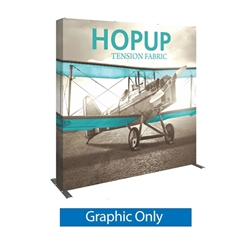 Full Fitted Graphic for 8ft Hopup Floor 3x3 Straight Exhibit. Hopup Backwall 3x3 Display is a simple yet attractive trade show floor backwall exhibit. The durable fabric graphic image stays attached to the aluminum frame for fast and efficient use