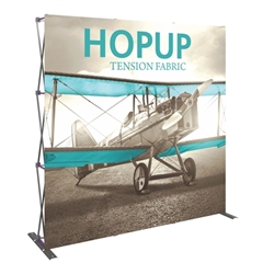 8ft Hopup Floor 3x3 Straight Fabric Display with Front Graphic is a simple yet attractive trade show floor backwall exhibit. The durable fabric graphic image stays attached to the aluminum frame for fast and efficient use