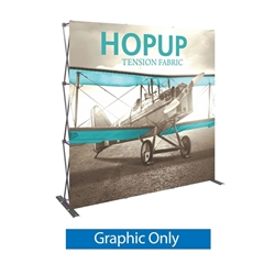 Front Graphic for 8ft Hopup Floor 3x3 Straight Exhibit. Hopup Backwall 3x3 Display is a simple yet attractive trade show floor backwall exhibit. The durable fabric graphic image stays attached to the aluminum frame for fast and efficient use