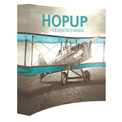 8ft Hopup Floor 3x3 Curved Fabric Display with Full Fitted Graphic is a simple yet attractive trade show floor backwall exhibit. The durable fabric graphic image stays attached to the aluminum frame for fast and efficient use