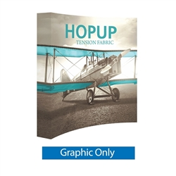 Full Fitted Graphic for 8ft Hopup Floor 3x3 Curved Exhibit. Hopup Backwall 3x3 Display is a simple yet attractive trade show floor backwall exhibit. The durable fabric graphic image stays attached to the aluminum frame for fast and efficient use