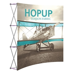 8ft Hopup Floor 3x3 Curved Fabric Display with Front Graphic is a simple yet attractive trade show floor backwall exhibit. The durable fabric graphic image stays attached to the aluminum frame for fast and efficient use