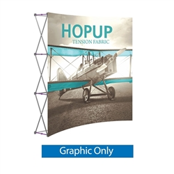 Front Graphic for 8ft Hopup Floor 3x3 Curved Exhibit. Hopup Backwall 3x3 Display is a simple yet attractive trade show floor backwall exhibit. The durable fabric graphic image stays attached to the aluminum frame for fast and efficient use