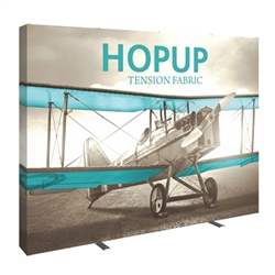 10ft Hopup Floor 4x3 Straight Fabric Display with Full Fitted Graphic is a lightweight, heavy duty pop up frame to support an integrated fabric tension graphic mural. HopUp Tension Fabric Displays Ideal For Trade Shows & Retail Industry
