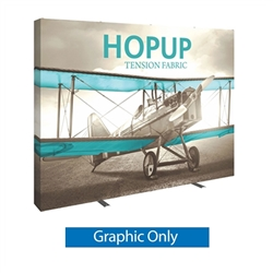 Full Fitted Graphic 10ft Hopup 4x3 Straight Fabric Display. Hopup is a lightweight, heavy duty pop up frame to support an integrated fabric tension graphic mural. HopUp Tension Fabric Displays Ideal For Trade Shows & Retail Industry