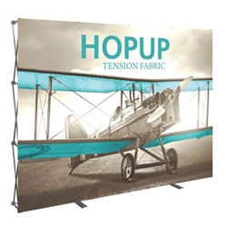 10ft Hopup Floor 4x3 Straight Fabric Display with Front Graphic is a lightweight, heavy duty pop up frame to support an integrated fabric tension graphic mural. HopUp Tension Fabric Displays Ideal For Trade Shows & Retail Industry