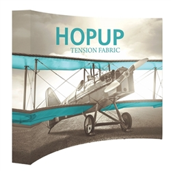 10ft Hopup Floor 4x3 Curved Fabric Display with Full Fitted Graphic is a lightweight, heavy duty pop up frame to support an integrated fabric tension graphic mural. HopUp Tension Fabric Displays Ideal For Trade Shows & Retail Industry
