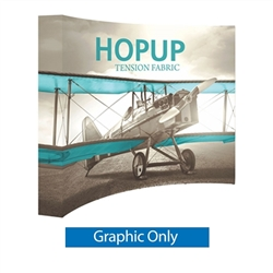 Full Fitted Graphic 10ft Hopup 4x3 Curved Fabric Display. Hopup is a lightweight, heavy duty pop up frame to support an integrated fabric tension graphic mural. HopUp Tension Fabric Displays Ideal For Trade Shows & Retail Industry