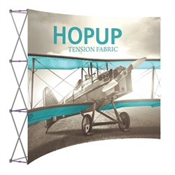 10ft Hopup Floor 4x3 Curved Fabric Display with Front Graphic is a lightweight, heavy duty pop up frame to support an integrated fabric tension graphic mural. HopUp Tension Fabric Displays Ideal For Trade Shows & Retail Industry