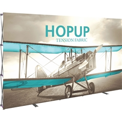 12ft Hopup Floor 5x3 Straight Fabric Display with Front Graphic is the largest among Hop Up trade displays, making it the perfect way to stand out against the competition. HopUp has a light weight, heavy duty frame that holds a fabric graphic mural