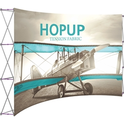 12ft Hopup Floor 5x3 Curved Fabric Display with Front Graphic is the largest among Hop Up trade displays, making it the perfect way to stand out against the competition. HopUp has a light weight, heavy duty frame that holds a fabric graphic mural