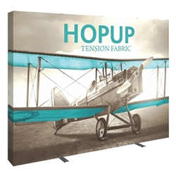 10ft x 10ft Hopup Floor 4x4 Straight Fabric Backwall Display with Full Fitted Graphic is the largest among Hop Up trade displays, making it the perfect way to stand out against the competition.