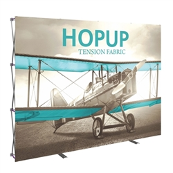 10ft x 10ft Hopup Floor 4x4 Straight Fabric Backwall Display with Front Graphic is the largest among Hop Up trade displays, making it the perfect way to stand out against the competition.
