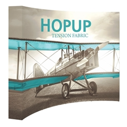 10ft x 10ft Hopup Floor 4x4 Curved Fabric Backwall Display with Full Fitted Graphic is the largest among Hop Up trade displays, making it the perfect way to stand out against the competition.