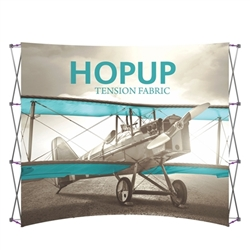 10ft x 10ft Hopup Floor 4x4 Curved Fabric Backwall Display with Front Graphic is the largest among Hop Up trade displays, making it the perfect way to stand out against the competition.