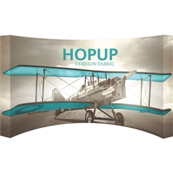 15ft x 8ft Hopup Floor 6x3 Curved Fabric Backwall Display with Full Fitted Graphic is the largest among Hop Up trade displays, making it the perfect way to stand out against the competition.